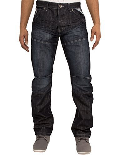 ENZO Herren EZ243 EZ244 Reguläre Passform Gerades Bein Klassisch Blau Jeans Jeans Größen 28-48 - Darkwash, 36W x Long