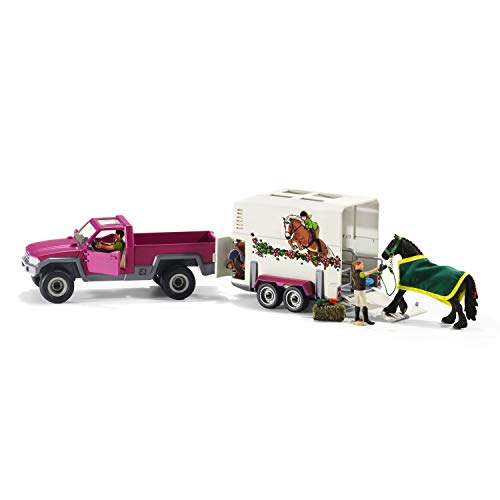 Schleich Pick Up with Horse Trailer Playset