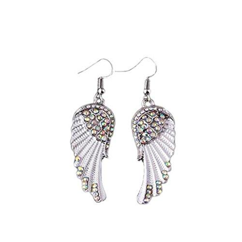 Gyoume Women's Earrings Pearl Studded Spiral Design Zircon Hoop Drop Earrings Jewelry Party Earring (White)
