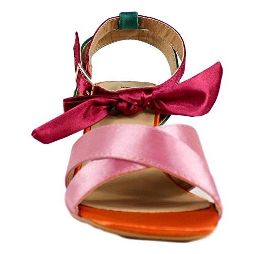 Buonarotti Sandalia de Tacón Grueso de Raso. Cierre EN el Tobillo con Adorno de Lazo. Altura del Tacón 6.5 cm. Rosa