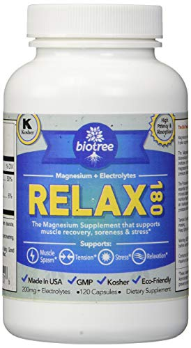 BioTree Labs Relax 180 - Magnesium and Potassium Supplement with Electrolytes That Relieves Muscle Pain, Spasms, and Tension and Provides Stress Relief ()