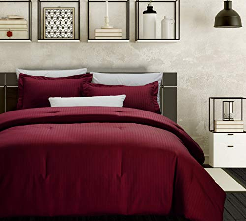 """Chezmoi Collection Marley 3-Piece Damask Stripe Down Alternative Comforter Set (Queen, Burgundy) - Marley 3-Piece Down Alternative Comforter Set Includes: 1 Comforter, 2 Shams Measurements Comforter 90"""" x 92"""", Shams 20"""" x 26"""" Classic damask sateen woven stripe pattern with a smooth and shiny satin-like finish - comforter-sets, bedroom-sheets-comforters, bedroom - 41Dt%2Bzdg87L -"""