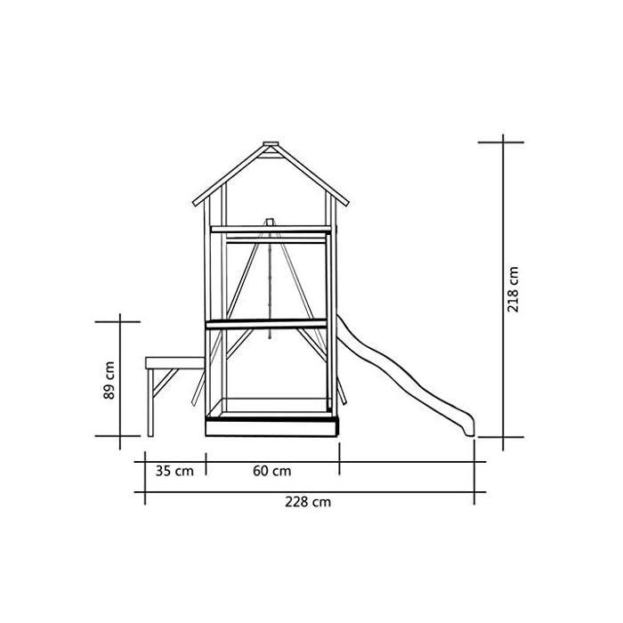 41Dt UYtMBL Su robusta estructura es de madera de pino impregnado con certificación FSC. Este parque infantil de madera maciza es muy robusto, resistente a la intemperie y duradero. La escalera de cuerda está unida a la estructura mediante ganchos metálicos resistentes al desgaste.