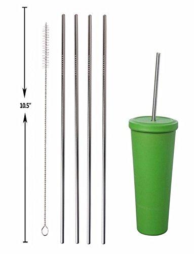 "HLHyperLink Stainless Steel Straws, 10.5"" Long Reusable Replacement Drinking Metal Straws for 20 30 OZ Yeti Tumbler, RTIC, Tervis, Ozark Trail, Starbucks, Mason Jar (4 Straight + 4 Bent + 2 Brushes)"