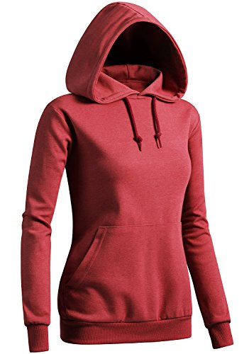 (CLOVERY Women's Comfortable Fabric Short Sleeve Hoodie RED US L/Tag L)