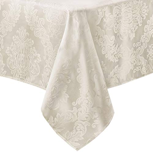 Barcelona No-Iron Soil Resistant Fabric Damask Tablecloth - 60 X 144 Oblong - Antique White