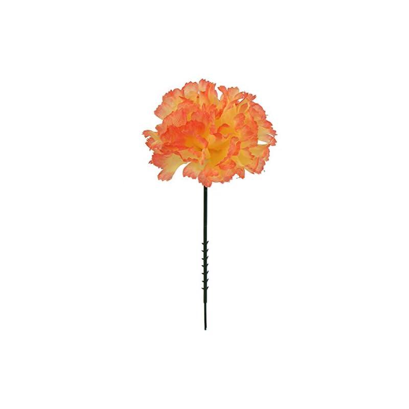 "silk flower arrangements larksilk orange silk carnation picks, artificial flowers for weddings, decorations, diy decor, 100 count bulk, 3.5"" carnation heads with 5"" stems"