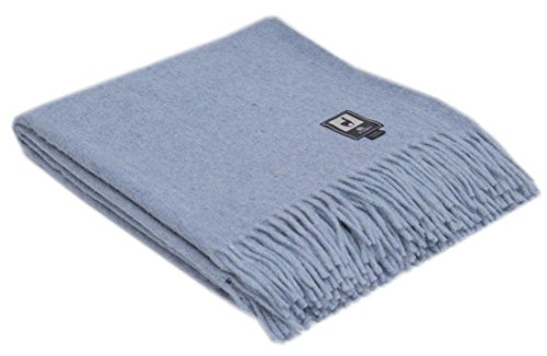Superfine Natural Alpaca Yarn & Merino Wool Woven Blanket Fringed Throw (Soft Blue)