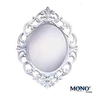 """MONOINSIDE 15"""" Inches Oval Wall Mounted Mirror, Antique Vintage & Classic Design, Plastics Frame, Ornate White Finish"""