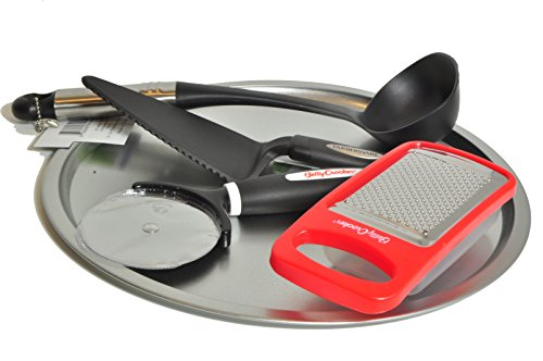 Pizza Maker Kit 5-piece Set with 12 Inch Steel Pizza Pan, Betty Crocker Pizza Cutter Wheel and Hand Held Cheese Grater Bundle with Farberware Pizza Pie Server and Nylon Sauce Ladle Betty Crocker Pans