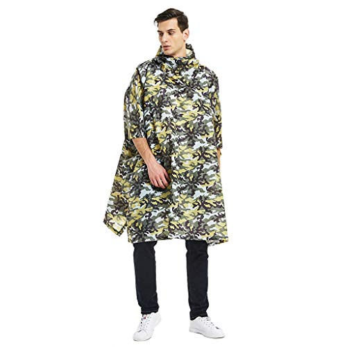 Bsjmlxg Summer Men's Camouflage Raincoat Belted Hooded Lightweight Military Waterproof Mountaineering Outdoor Rain Jacket