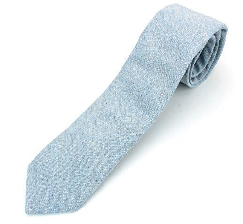 (Men's Chambray Cotton Skinny Necktie Tie Textured Distressed Style - 07 - Light Blue #2)