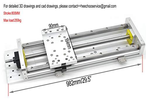 CNC mesa deslizante longitud de viaje 800 mm 32 pulgadas tornillo 1605 + HG15 lineal guía deslizante etapa de carga 250 kg C7 con soporte de motor Nema23 para CNC 3 ejes: Amazon.es: Amazon.es