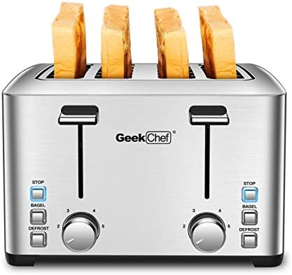 Geek Chef 4 Slice toaster, 4 Extra Wide Slots, Best Rated Prime Retro Bagel Toaster with 6 Bread Shade Settings, Defrost,Bagel,Cancel Function, Removable Crumb Tray, Stainless Steel Toaster, 1500W