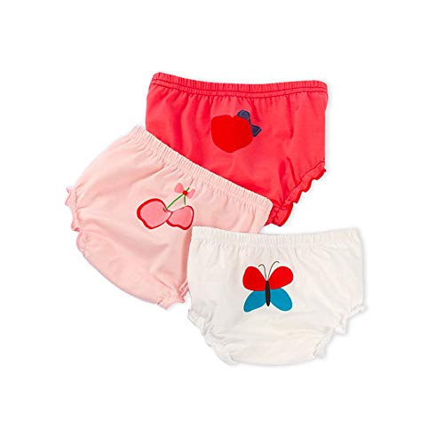 Qukey Girls Panties Boys Briefs Underwear Comfortable Breathable Cotton Pack of 3 (Butterfly, 31-37lb/37-41in)
