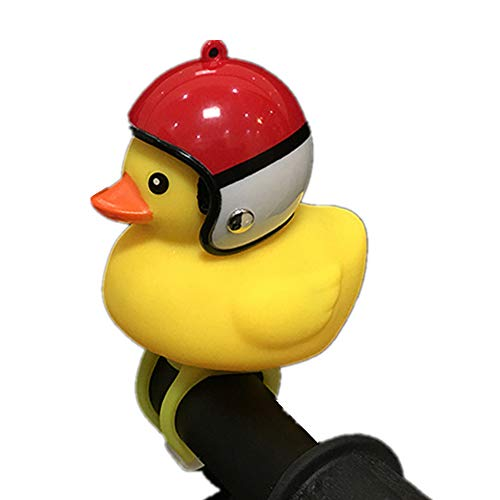 NEEAI Kids Bike Horn Cute Bicycle Lights Bell Squeeze Horns for Toddler Children Adults Cycling Light Rubber Duck Helmet - Squeeze Horn Bicycle