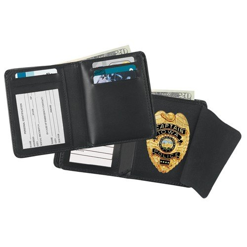 Strong Leather 79230-0192 Black Leather Deluxe Hidden Badge Wallet - Cutout 019