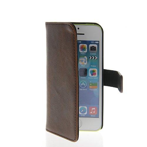 MOONCASE Etui Housse Cuir Portefeuille Case Cover Pour Apple iPhone 5C café