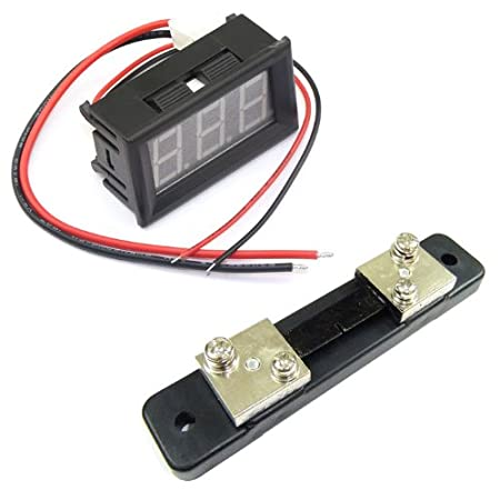 DROK Mini Digital Amp Ampere meter Two Wires 0.56 0-50A DC Ampere Testing Meter Green LED Panel Display+Current Shunt For Ammeter