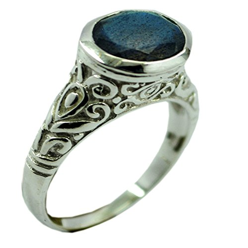 Natural Labradorite Ring For Women Oval Shape Bezel 925 Sterling Silver Jewelry Size 5,6,7,8,9,10,11,12 - Cabochon Sterling Silver Handmade Ring