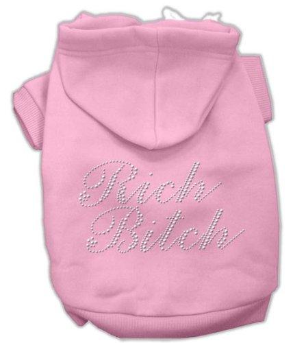 Mirage Pet Products Rich Bitch Rhinestone Hoodies, Size 14, Pink