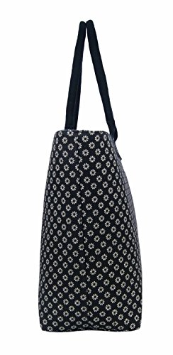 Black Black Shoulder Wallflower Beach Women Large Holiday Lightweight Daisy Ladies Lined Fully Canvas Tote Shopper Flower Bag Bag wHqUSTAU