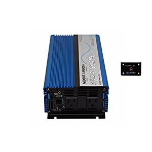 Aims PWRI100012120S 1000 Watt 12V Pure Sine Wave Power Inverter Bundle with Inverter and Remote Switch (2 Items)