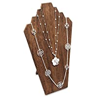 MOOCA Lightweight Wooden Jewelry Necklace Display Bust Easel For 3 Necklaces