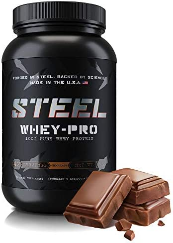 Steel Supplements Whey-PRO Whey Protein Powder Supplement Supports Lean Muscle Gains 3 Pounds Chocolate