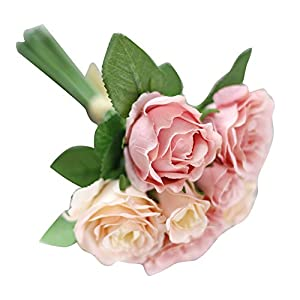 Clearance🔥Quaanti 7 Heads Artificial Silk Fake Flowers Leaf Rose Wedding Floral Decor Bouquet Home Office Decoration 4