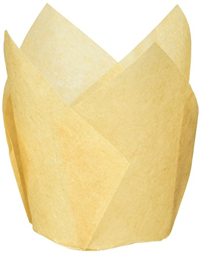 Hoffmaster 611121 Tulip Cup Cupcake Wrapper/Baking Cup, 2-1/4'' Diameter x 4'' Height, Large, Natural (4 Packs of 250) by Hoffmaster