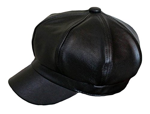 Qunson Women's Vintage Pu Leather Newsboy Hat Cap
