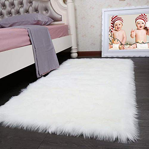 Pinkday Faux Sheepskin Area Rug Classic Rectangle Sheepskin Area Rug Plush Premium Shag Faux Fur Shag Runner (3x5 - Acrylic Shag Rug