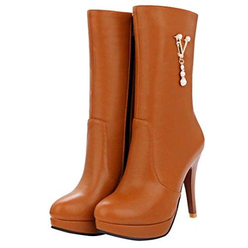 AIYOUMEI Damen Herbst Winter Stiletto Halbschaft Stiefel mit Perle und Plateau Elegant Mid Heel Boots Braun