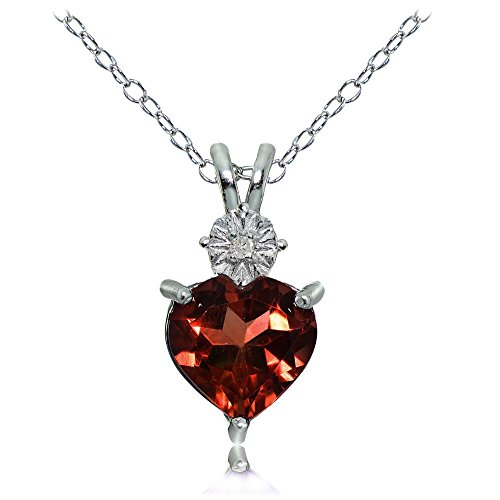 Sterling Silver African Garnet Heart Drop ()