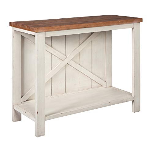 - Ashley Furniture Signature Design - Abramsland Console Accent Table - Storage in Kitchen, Living Room, Entryway - Two-Tone Finish in Natural/Antique White