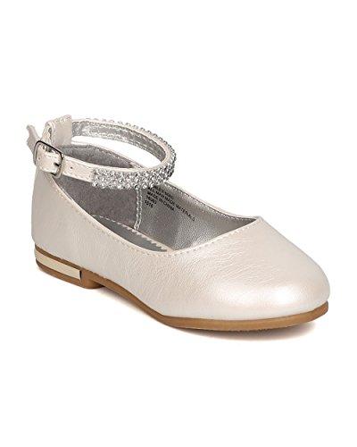 Little Angel GB35 Girls Leatherette Rhinestone Ankle Strap Ballet Flat (Toddler Girl) - Ivory (Size: Toddler 5)