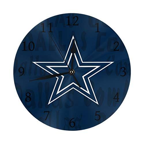 (Gdcover Custom Dallas Cowboys Quartz Wall Clock Arabic Numerals Silent Non-Ticking for Home Living Room Decor (9.8 Inch))