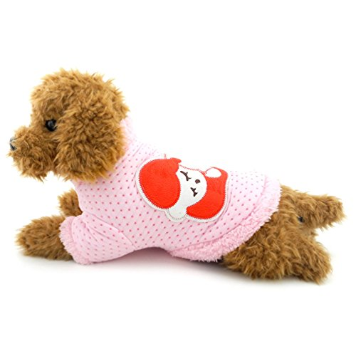 SMALLLEE_LUCKY_STORE Small Dog Pajamas Fleece Lined Dog Winter Coat Small Dog Clothes, XX-Large, Pink ()