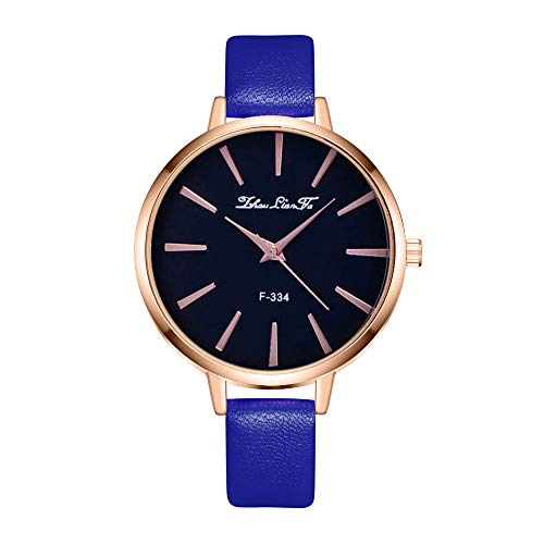 Yemenger Women's Leather Watches,High-end Blue Glass Quartz Waterproof Chronograph Watch