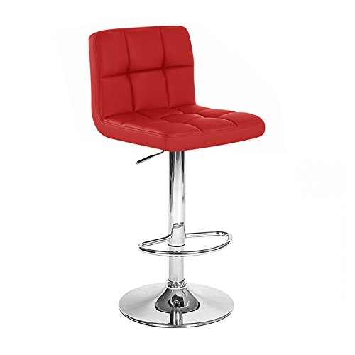 Roundhill Furniture Swivel Red Bonded Leather Adjustable Hydraulic Bar Stool, Set of 2 (Stool Adjustable Bar Style)