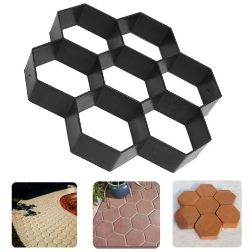 JTW DIY Plastic Hexagon shape walkway Pavement driveway stone mold concrete mold stepping (28x29x4 cm) black color