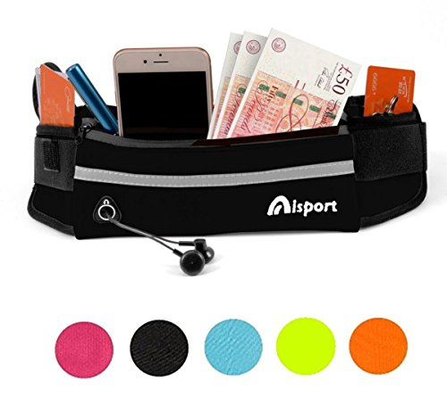 Aisprts Running Belt Waist Pack - Water Resistant Runners Belt Fanny Pack for Hiking Fitness – Adjustable Running Pouch for All Kinds of Phones iPhone Android Windows (Black)