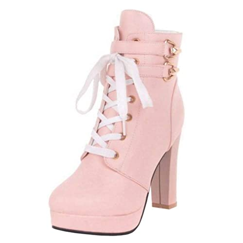 Melady Mujer Dulce Botines Botas Flor Botines Tacon Ancho Plataforma Botas Cortas Tacon Alto Plataforma Pink Size 33: Amazon.es: Zapatos y complementos
