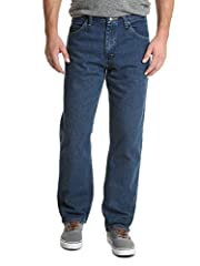 PRODUCT DESCRIPTION Wrangler Authentics Men's Classic Relaxed Fit Jean. This jean is constructed with durable materials built for long-lasting comfort. Made with a relaxed fit, this jean sits at the natural waist and features a regular seat a...