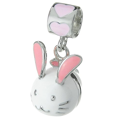 (Dreambell 925 Sterling Silver Easter Bunny Rabbit Enamel Dangle for European Charm Bracelets)