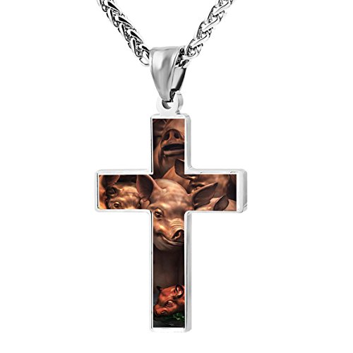 Roast Suckling Pig (Cross Pendant Necklace Roast Suckling pig Christian Religious Jewelry For Men and Women)