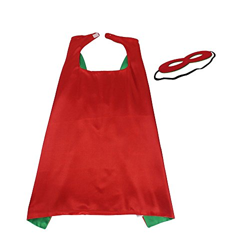 iROLEWIN 70cm Super Hero Stain Capes with Mask for Girls and Boys Party,Red-Green -