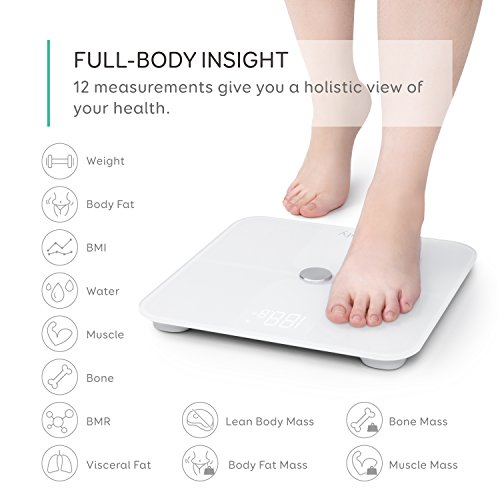 eufy Smart Scale with Bluetooth 4.0, Large LED Display, Weight/Body Fat/BMI/Fitness Body Composition Analysis, Auto On/Off, Auto Zeroing, Tempered Glass Surface, White, lbs/kg/st Units