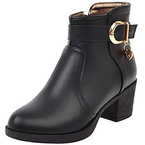 COOLCEPT Damen Bequeme Herbst Winter Blockabsatz Booties Ankle 74 Black
